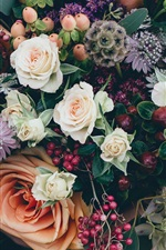 Preview iPhone wallpaper Bouquet flowers, roses, berries