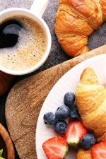Preview iPhone wallpaper Breakfast, coffee, strawberry, blueberries, croissant