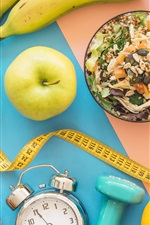 Preview iPhone wallpaper Breakfast, fruit, muesli, apple, banana, kiwi, alarm clock, shoes