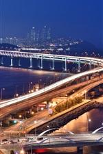 Preview iPhone wallpaper Bridge, roads, lights, city, night