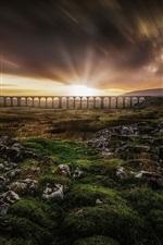 Preview iPhone wallpaper Bridge, sunrise, clouds, grass, hills