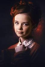 Brown hair girl, portrait, darkness