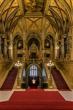 Preview iPhone wallpaper Budapest, Hungary, Parliament, main staircase, hall