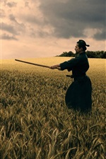 Preview iPhone wallpaper Bushido, katana, black kimono, wheat field