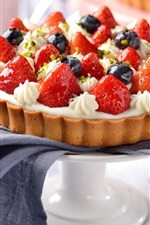 Preview iPhone wallpaper Cake, pie, strawberry, blueberries, delicious food