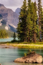 Preview iPhone wallpaper Canada, Jasper, lake, trees, mountains