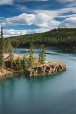 Preview iPhone wallpaper Canada, Yukon River, Miles Canyon, forest, rocks, clouds