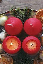 Candles, Christmas balls, nuts, decoration