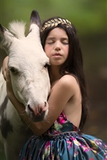 Preview iPhone wallpaper Child girl and horse, friendship