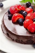 Preview iPhone wallpaper Chocolate cake, blueberries, strawberries, dessert