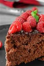 Chocolate cake, piece, raspberries