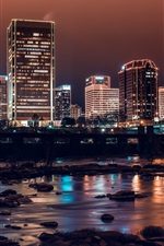 City night, river, bridge, buildings, lights