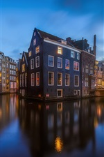 Preview iPhone wallpaper City, river, house, evening, Netherlands, Amsterdam