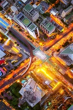 Preview iPhone wallpaper City top view, crossroads, street, buildings, lights, night