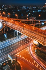 Preview iPhone wallpaper City traffic, roads, night, light lines