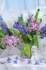 Preview iPhone wallpaper Colorful flowers, hyacinths, figurine