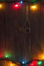 iPhone fondos de pantalla Luces coloridas vacaciones, tablero de madera