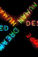 Preview iPhone wallpaper Colorful neon words, darkness