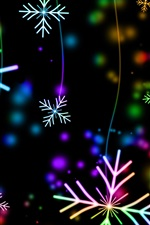 Preview iPhone wallpaper Colorful snowflakes, lights, glare