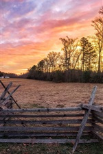 Countryside, fence, house, trees, sunset