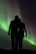 Couple, lovers, silhouettes, starry, northern lights