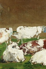 Preview iPhone wallpaper Cows, painting