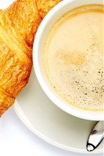 Preview iPhone wallpaper Croissant, coffee, white background