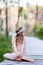 Preview iPhone wallpaper Cute child girl look back, wreath, wooden path, trees