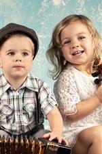 Cute children, boy and girl, accordion, violin