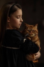 Preview iPhone wallpaper Cute little girl and her cat