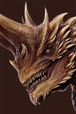 Preview iPhone wallpaper Dragon, horns, fangs, art picture