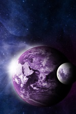 Preview iPhone wallpaper Earth, moon, universe, purple style