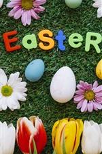 iPhone fondos de pantalla Pascua, flores, tulipanes, margarita, hierba, huevos, colorido