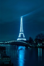 Preview iPhone wallpaper Eiffel Tower, river, bridge, road, illumination, night, Paris, France