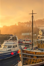 Preview iPhone wallpaper England, Mevagissey, harbour, yachts, sunrise, morning, fog