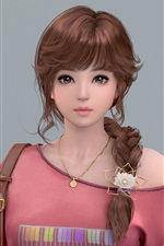 Fantasy Asian girl, brown hair, braid