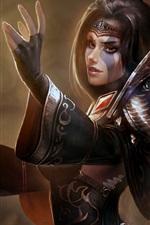 Garota de fantasia, armadura, magia, obras de arte
