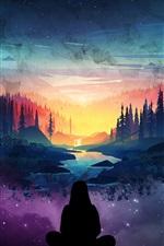 Fantasy world, beautiful, trees, starry, man