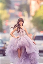 Preview iPhone wallpaper Fashion little girl, beautiful skirt, road, cars