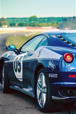 Preview iPhone wallpaper Ferrari blue sports car rear view