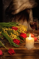 Preview iPhone wallpaper Flowers, red tulips, candle, flame, wine, romantic