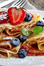 Preview iPhone wallpaper Food, pancakes, sugar powderful, blueberries, jam