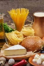 Preview iPhone wallpaper Food, vegetables, cheese, eggs, bread, noodles, tomato, oil
