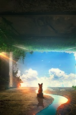 Preview iPhone wallpaper Fox look blue sky, clouds, tunnel, plants, river, creative picture