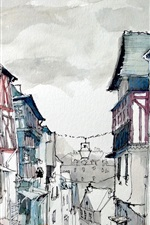 Preview iPhone wallpaper France, Dinan town, watercolor painting