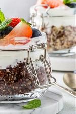 Preview iPhone wallpaper Fruit yogurt, berries, jars
