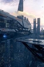 Preview iPhone wallpaper Future city, starship, futuristic art
