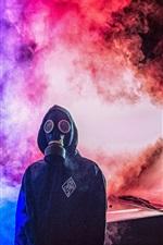 Preview iPhone wallpaper Gas mask, smoke, man, car