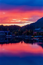 Preview iPhone wallpaper Germany, Bavaria, lake, buildings, city, sunset