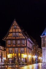 Preview iPhone wallpaper Germany, Quedlinburg, night, houses, wet ground